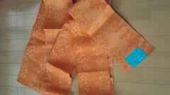 ゴージャス浴衣の帯 未使用 橙色黄色ラブリーハート柄