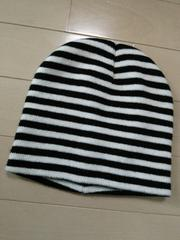 新品◆黒白ボーダーニット帽◆ハロウィーンコスプレにも♪