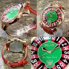 トップリューズ式ビッグフェイス★ルーレットデザイン腕時計PG