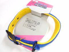 送250円20kgナイロン+合皮革首輪TO-28Blue青36~48cmテンダーカラーブルー愛犬