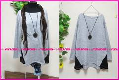 新作◆大きいサイズ4Lグレー×ブラック◆裾サイド切り替えチュニック