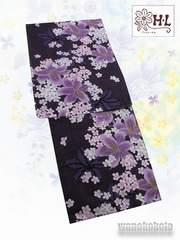 【和の志】女性用HLブランド浴衣◇渋紫系・百合◇HL-6