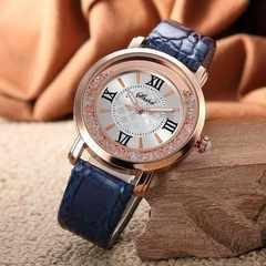 残1個600円★高級感漂うおしゃれデザイン時計 ブルー