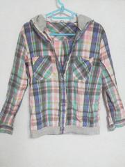 Fー70★メンズ長袖フード付きチェックシャツ M