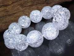 爆裂水晶§クラック水晶18ミリ数珠