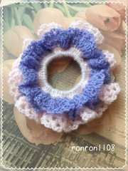 ハンドメイド/手編み♪毛糸のダブルフリル編みシュシュ 3