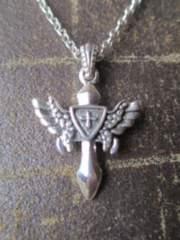 Silver925.ウィング、クロス ペンダント+925チェーン45cm 5.8g