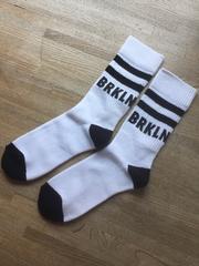 H&M BRKLN ミドルソックス ホワイトxブラック 靴下 新品未使用
