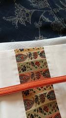 袷小紋着物と名古屋帯のセット。唐花紋様。正絹。コーデ例画像有