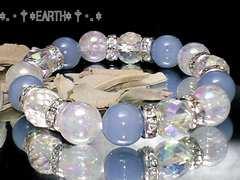 天然石★64面カットアクアオーラ水晶・オーラクラック水晶・エンジェライト数珠