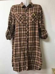 ★Coen チェック柄ロングシャツ  M★