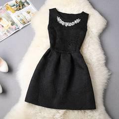ビジューのドレスワンピ ブラック