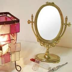 真鍮製 スタンドミラー インテリア雑貨 姫 金色鏡 角度調節