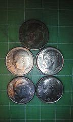アメリカ10セント硬貨5枚(1993年)♪