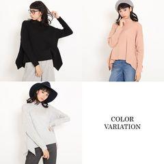新品メイソングレイワイドリブ裾アクセントニットセーター