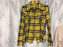 美品黄色イエローチェックシャツ長袖アメカジ