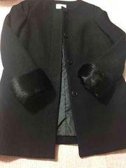 オンワード☆美品☆ブラックノーカラーコート