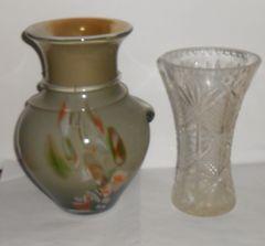 ハンドメイドの美しい文様ガラス花瓶&クリスタル花瓶