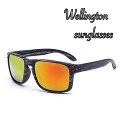 ウェリントン型ミラーサングラスUV400 紫外線カット ゴールド