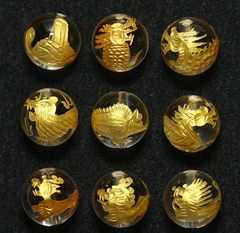 水晶12mm(金彫り)龍生九子(9種セット)ヤアズ、スアンニ等
