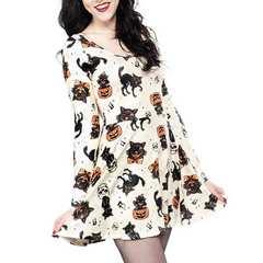 新品大きいサイズ3Lハロウィン黒猫ガイコツ柄ドレスワンピース