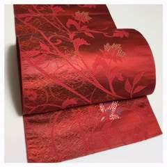 正絹 名古屋帯 博多帯 太織り 花模様 赤色 織り 六通柄 中古品