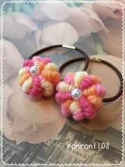 ハンドメイド♪ぷっくりお花の毛糸編みヘアゴム2個セット 33