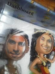 ハワイアン ダンサー人形型 ペア顔だけフォト置物