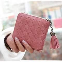 新品☆フリンジ 二つ折り財布 ピンク ラウンドZ084