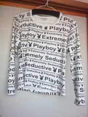 PLAYBOY 白×黒字 M 長袖 カットソー プレボ N2m