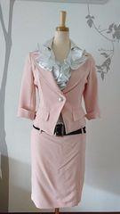 11AR スーツ Ava ベージュピンク タイト 7分袖 ストレッチ 美品