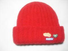wb674 ROXY ロキシー ウール ニット帽 ビーニー 赤