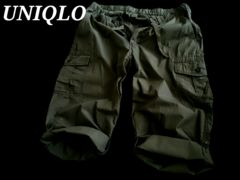 【UNIQLO】2WAYスリークオーターカーゴパンツ L(W84〜92�p)/Olive ミリタリー