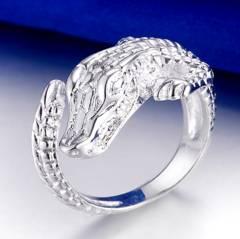 特A品 新品1円〜★送料無料★ silver925刻印 クロコダイル彫刻 指輪