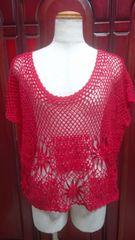 大きいサイズ真っ赤な透かし模様の手編み風カットソー(B-500