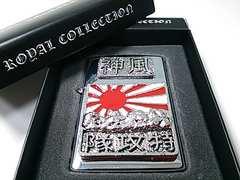 オイルライター 神風 日本 japan 国旗 クロム系 シルバー (ZIPPO