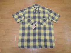 新品RATSラッツ半袖チェックシャツL黄色ステッチ刺繍