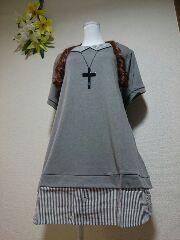 ★新品6L★シャツ重ね着風チュニ(灰)