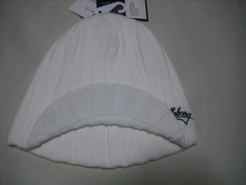 mb124 男 BILLABONG ビラボン 白 つば付き ニット帽