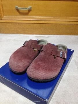 ビルケンシュトック ボストン スエードレザー サンダル 靴 38 24.5cm 幅広 茶 スリッポン