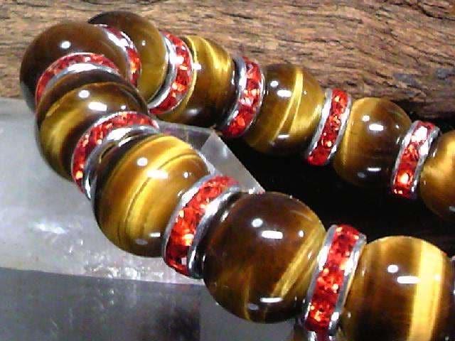 タイガーアイ12ミリ§レッドロンデル数珠 < 男性アクセサリー/時計の
