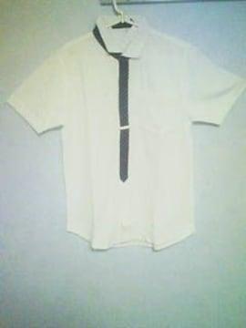 Aー107★新品★半袖タイデザインキレイ系シャツ ホワイトL