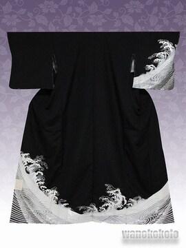 【和の志】洗える着物◇袷・付下げ◇黒系・波頭◇KTK-134