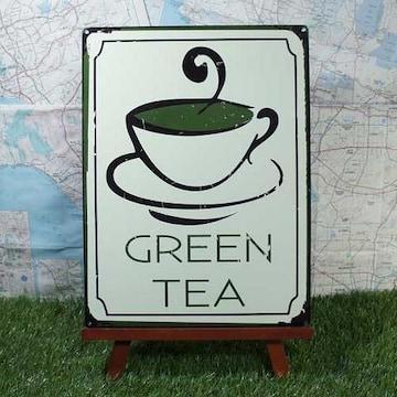 新品【ブリキ看板】Green Tea/緑茶 GREEN TEA