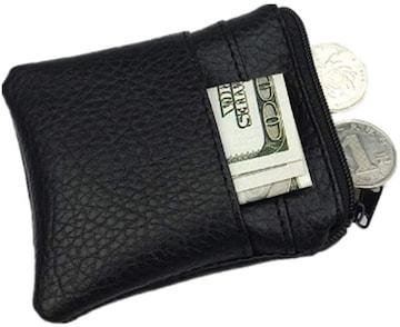 お試し390円★超人気 PUレザー短い段落小銭入れ コイン収納 黒