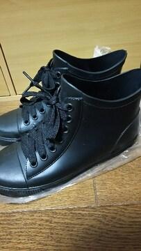 美品 シンプル 黒 レインシューズ 靴 L ◎ 雨の日はもちろん普段の日もプ