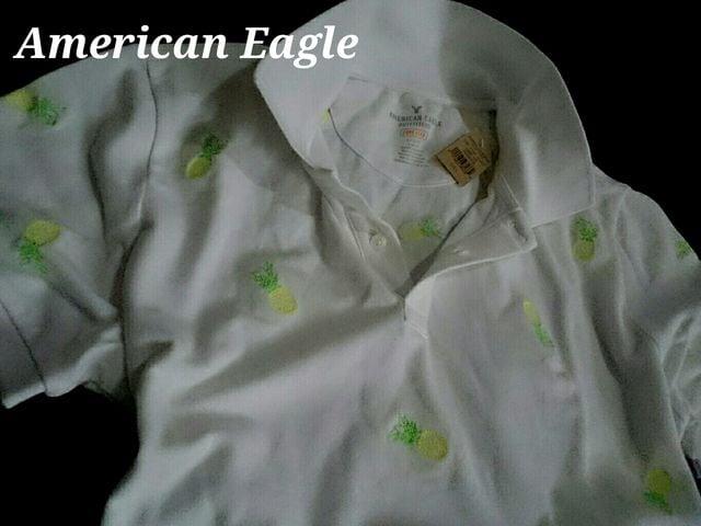 【American Eagle】Vintage ポロシャツ US−L(L〜XL)/パイナップル総刺繍  < ブランドの