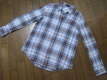 ○セオリー○コットンシルクチェックシャツ S ブルー×ブラウン
