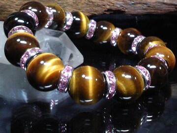 タイガーアイ14ミリ§ピンクロンデル数珠