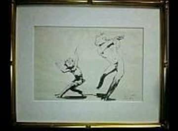 絵画 福沢一郎 真筆 挿し絵『牧神』サイン有 文化勲章 真作保証